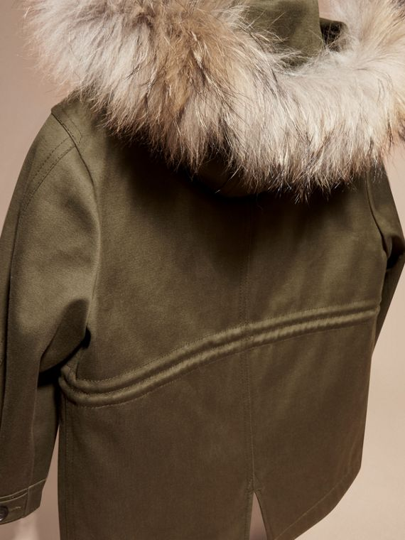 Olive green Fur-trimmed Cotton Sateen Parka - cell image 3
