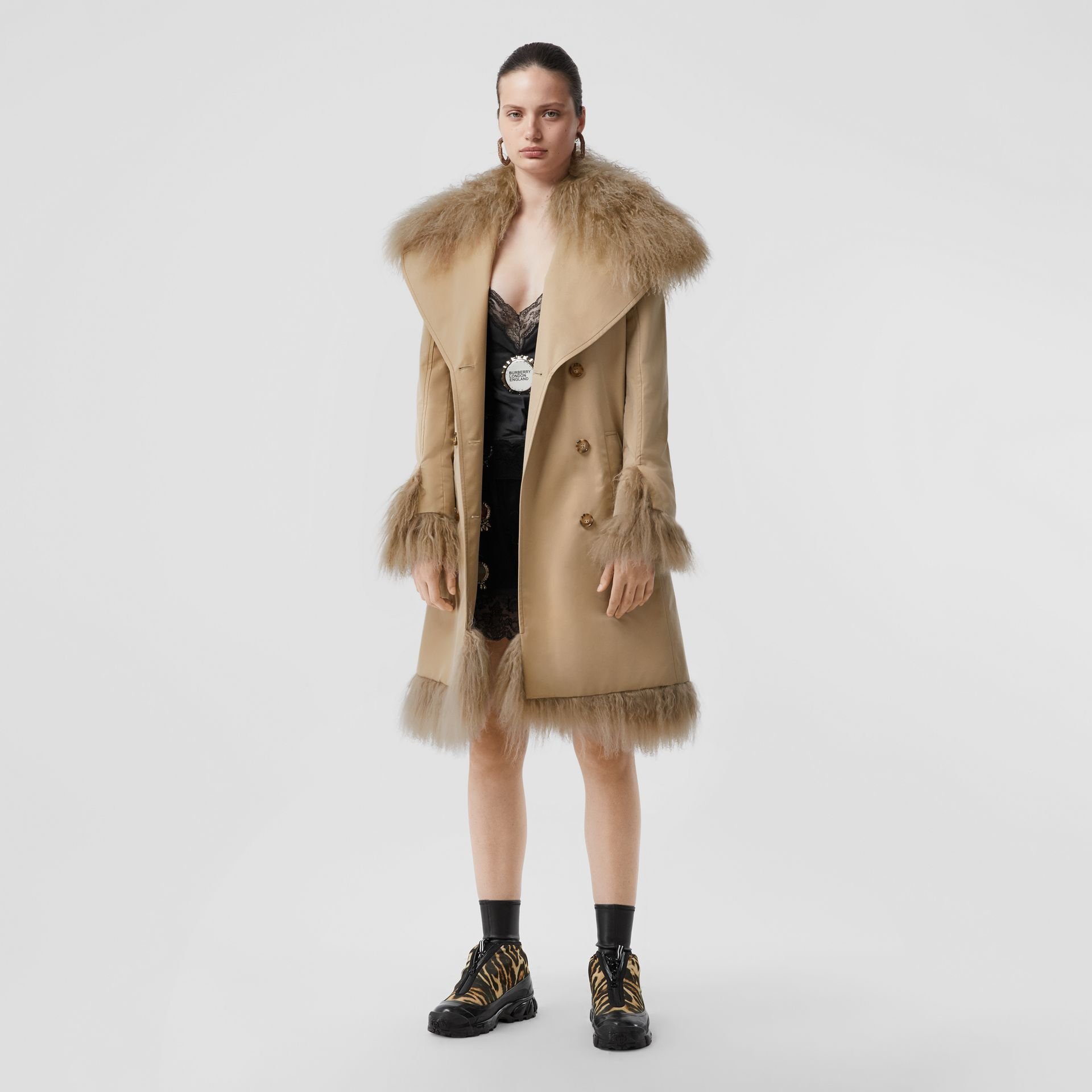 Shearling Trim Cotton Gabardine Belted Trench Coat in Honey - Women | Burberry - gallery image 5