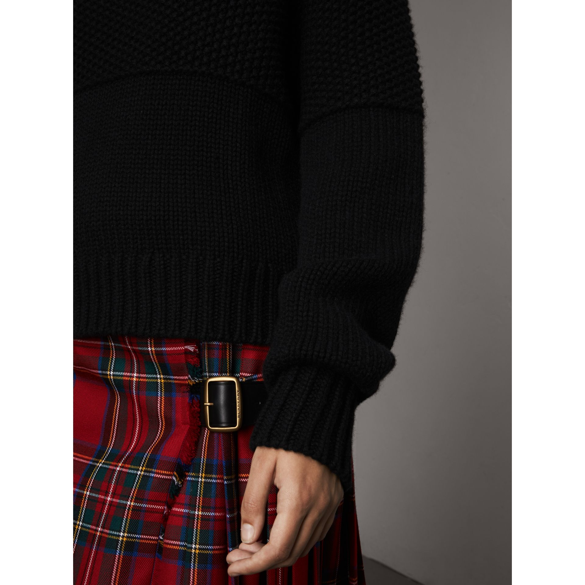Cashmere Roll-neck Sweater in Black - Women | Burberry - gallery image 5