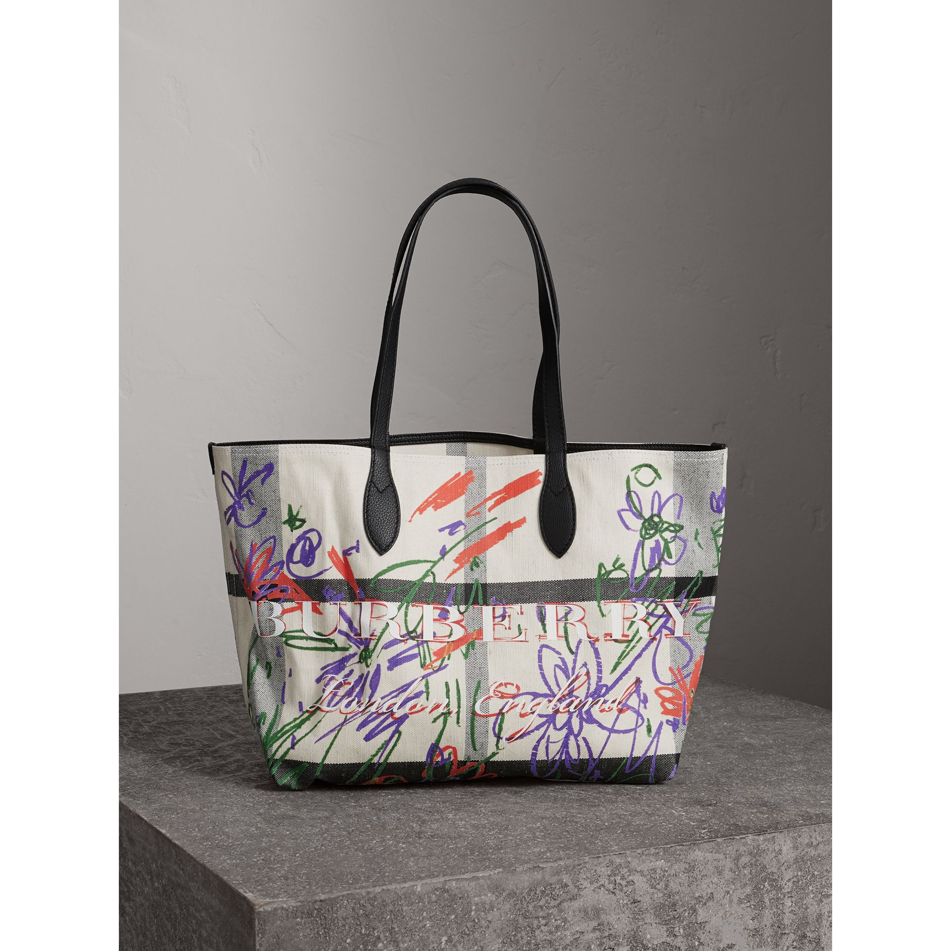 The Medium Reversible Doodle Tote in White/black - Women | Burberry - gallery image 0