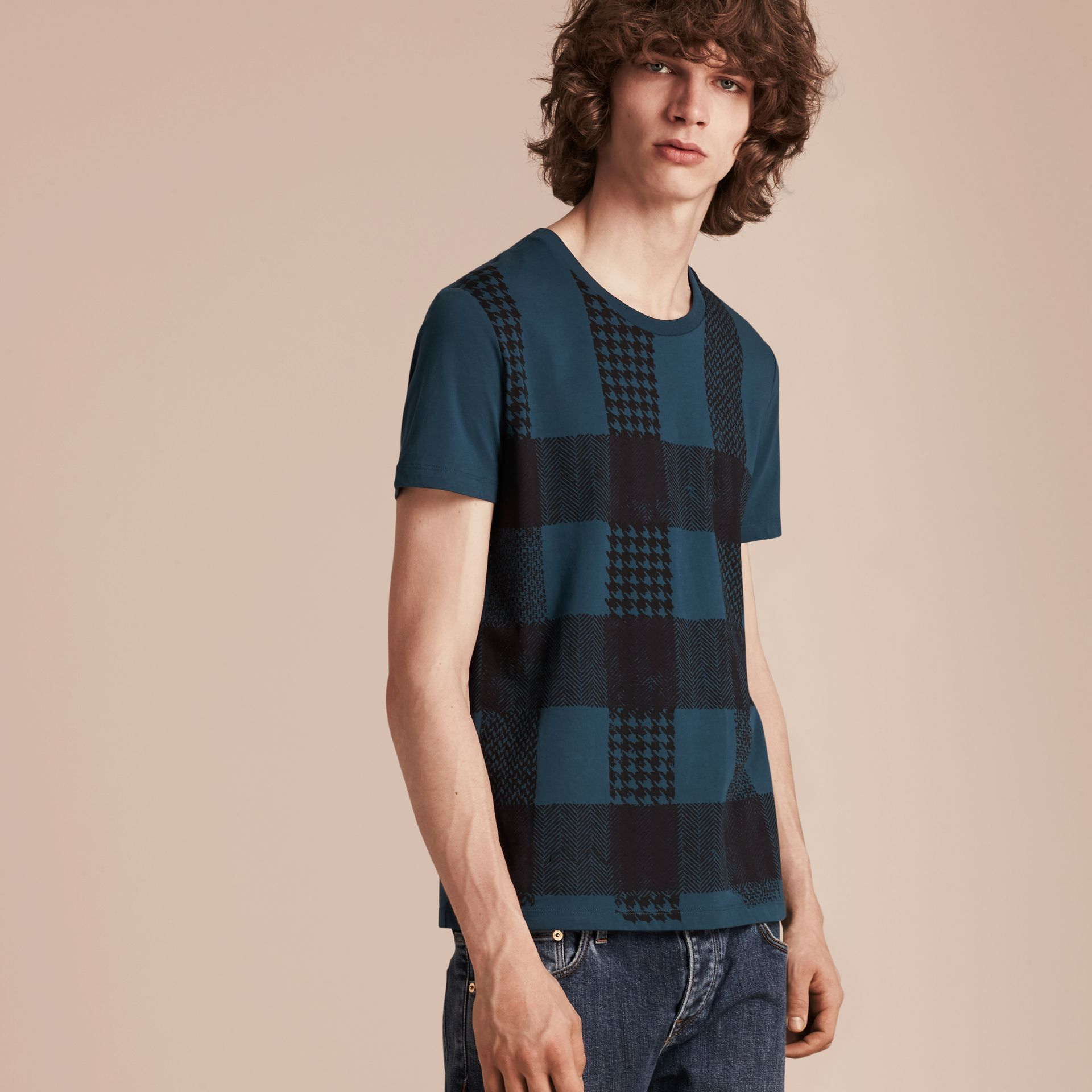 Mineral blue Textured Check Cotton T-Shirt Mineral Blue - gallery image 6