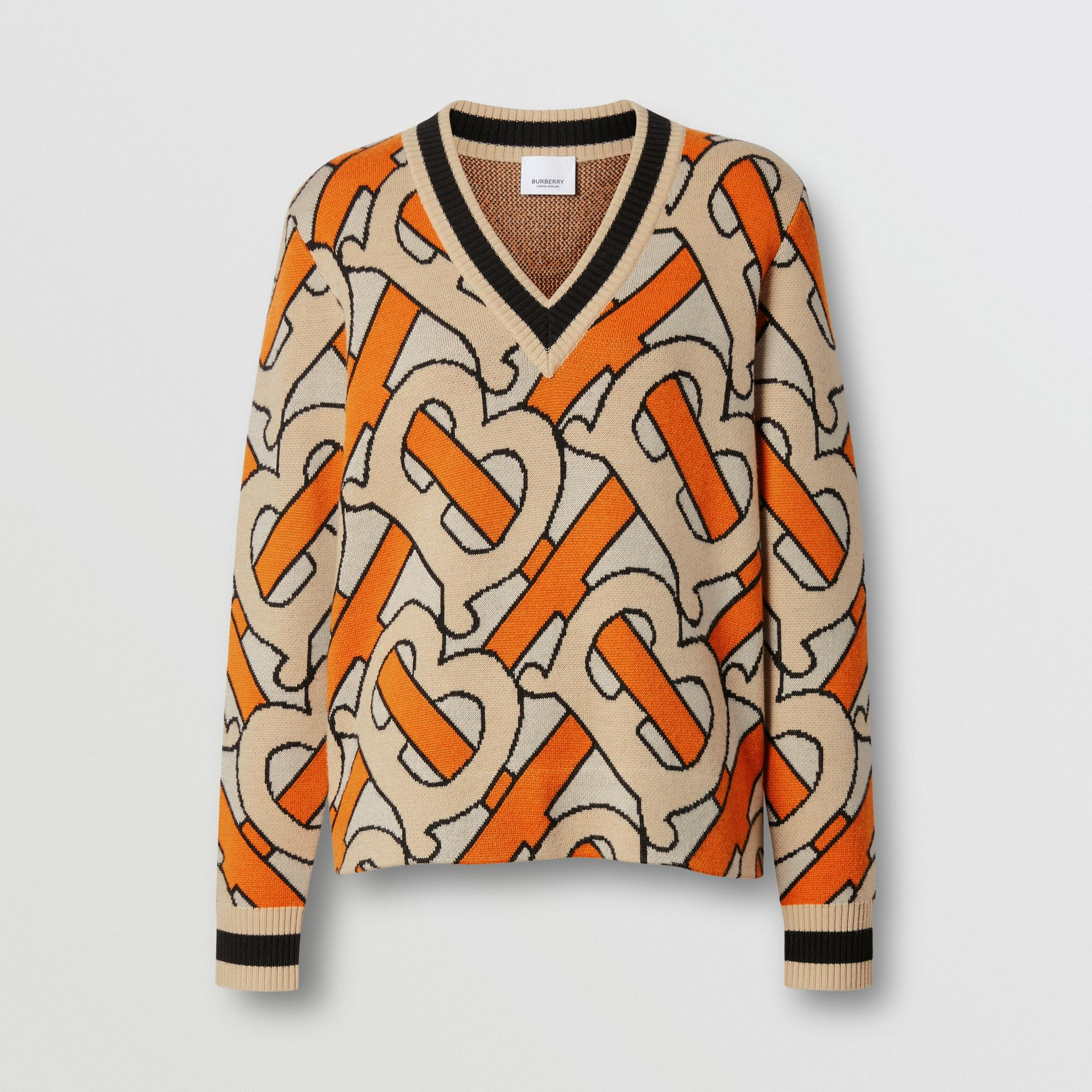 Monogram Intarsia Wool V-neck Sweater in Bright Orange - Women | Burberry United Kingdom - gallery image 3