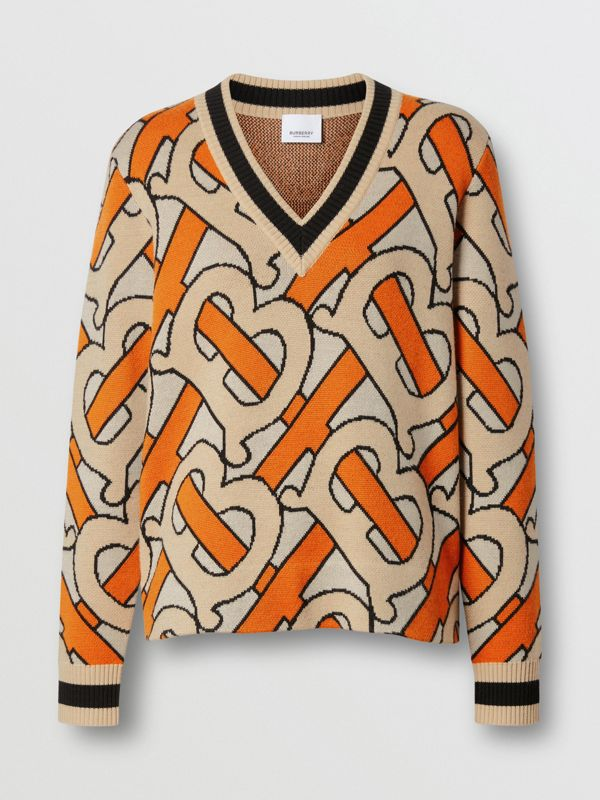 Monogram Intarsia Wool V-neck Sweater in Bright Orange - Women | Burberry United Kingdom - cell image 3