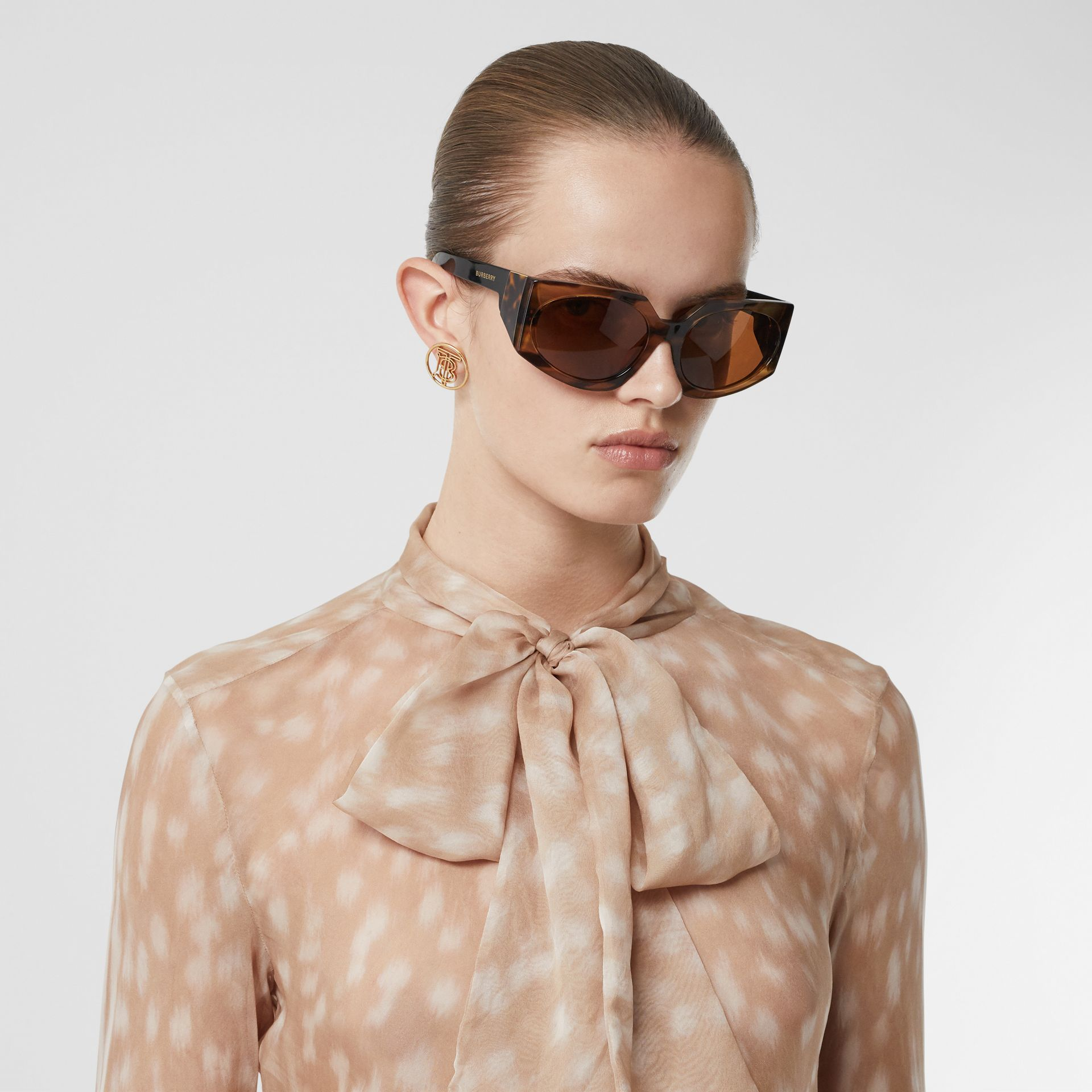Deer Print Silk Chiffon Pussy-bow Blouse in Soft Fawn - Women | Burberry United Kingdom - gallery image 1