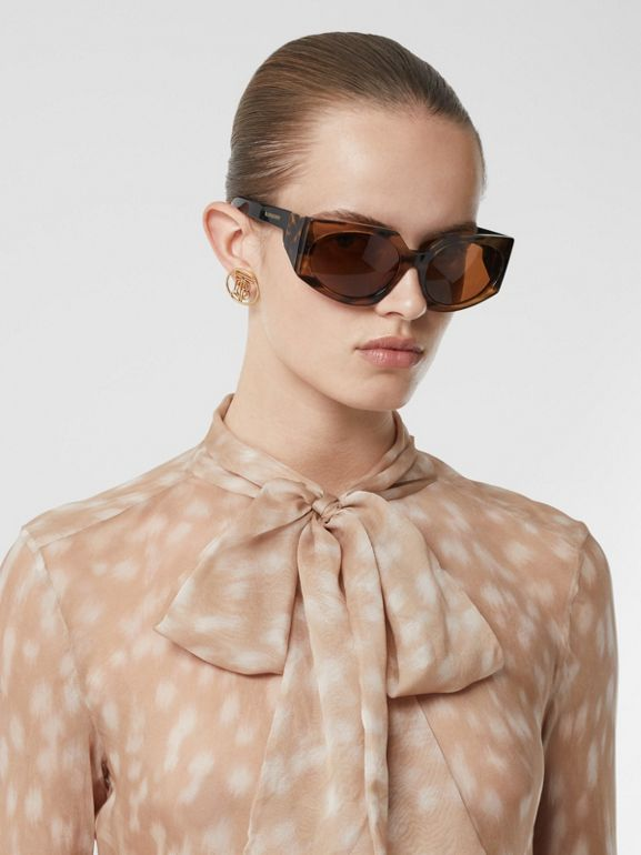 Deer Print Silk Chiffon Pussy-bow Blouse in Soft Fawn - Women | Burberry United Kingdom - cell image 1
