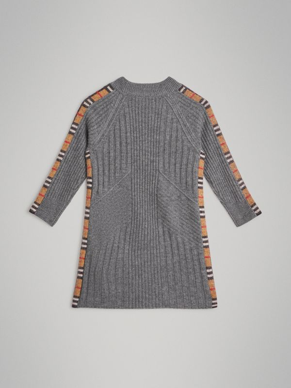 Check Detail Wool Cashmere Dress in Mid Grey Melange | Burberry Australia - cell image 3