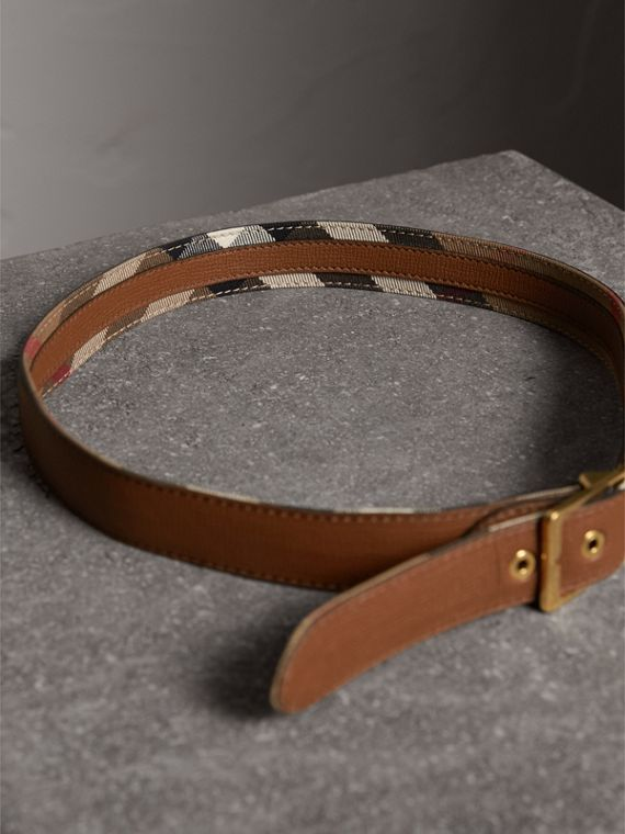 House Check and Grainy Leather Belt in Camel/tan - Women | Burberry Hong Kong - cell image 3