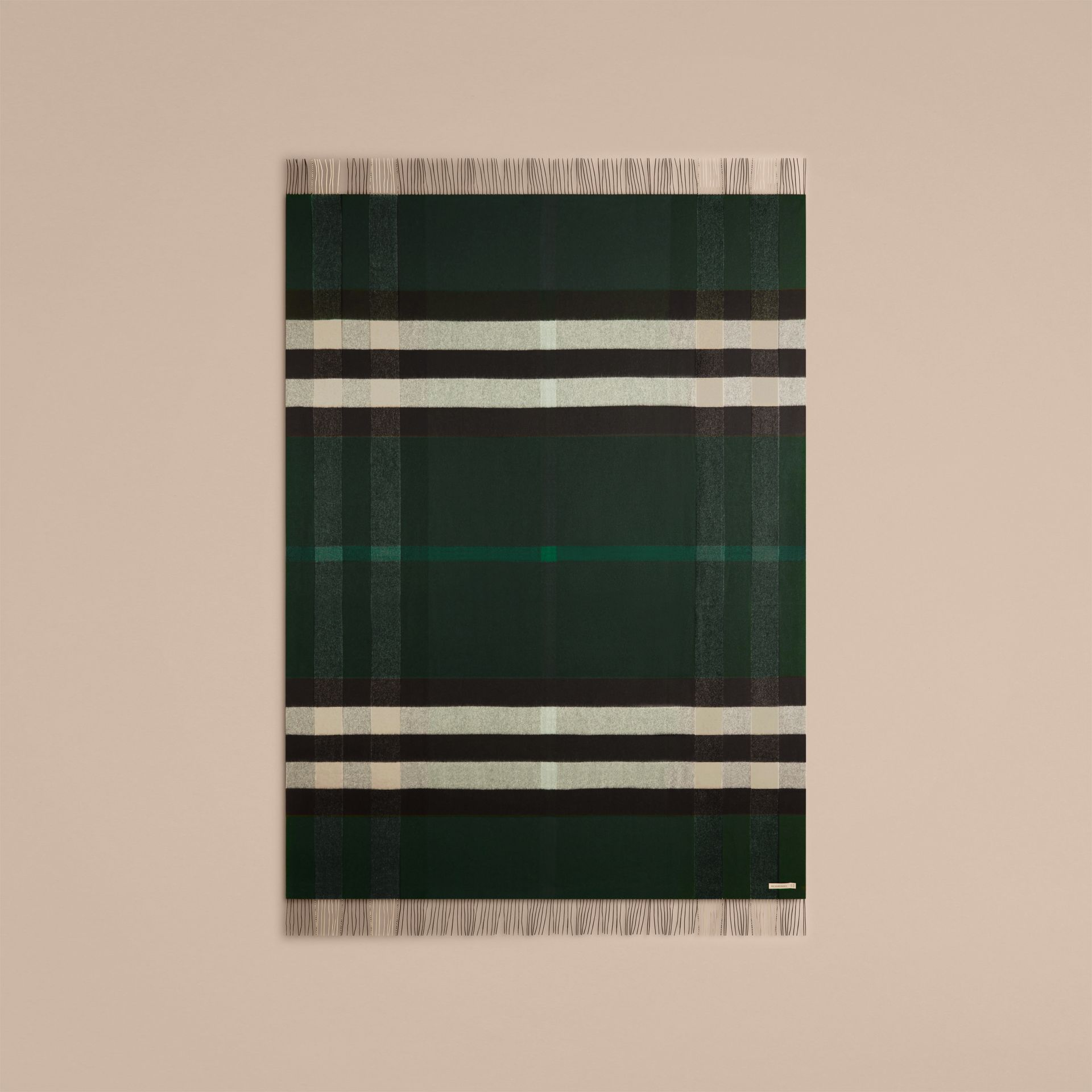 Dark forest green Check Cashmere Blanket Dark Forest Green - gallery image 3