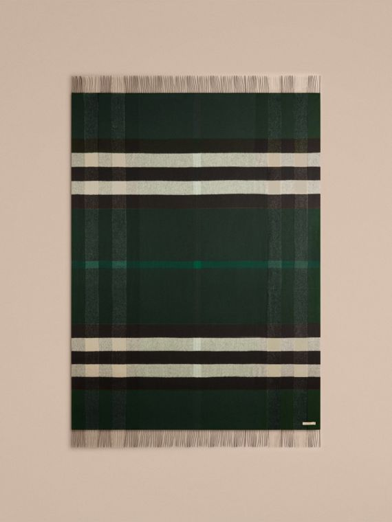 Check Cashmere Blanket in Dark Forest Green - cell image 2