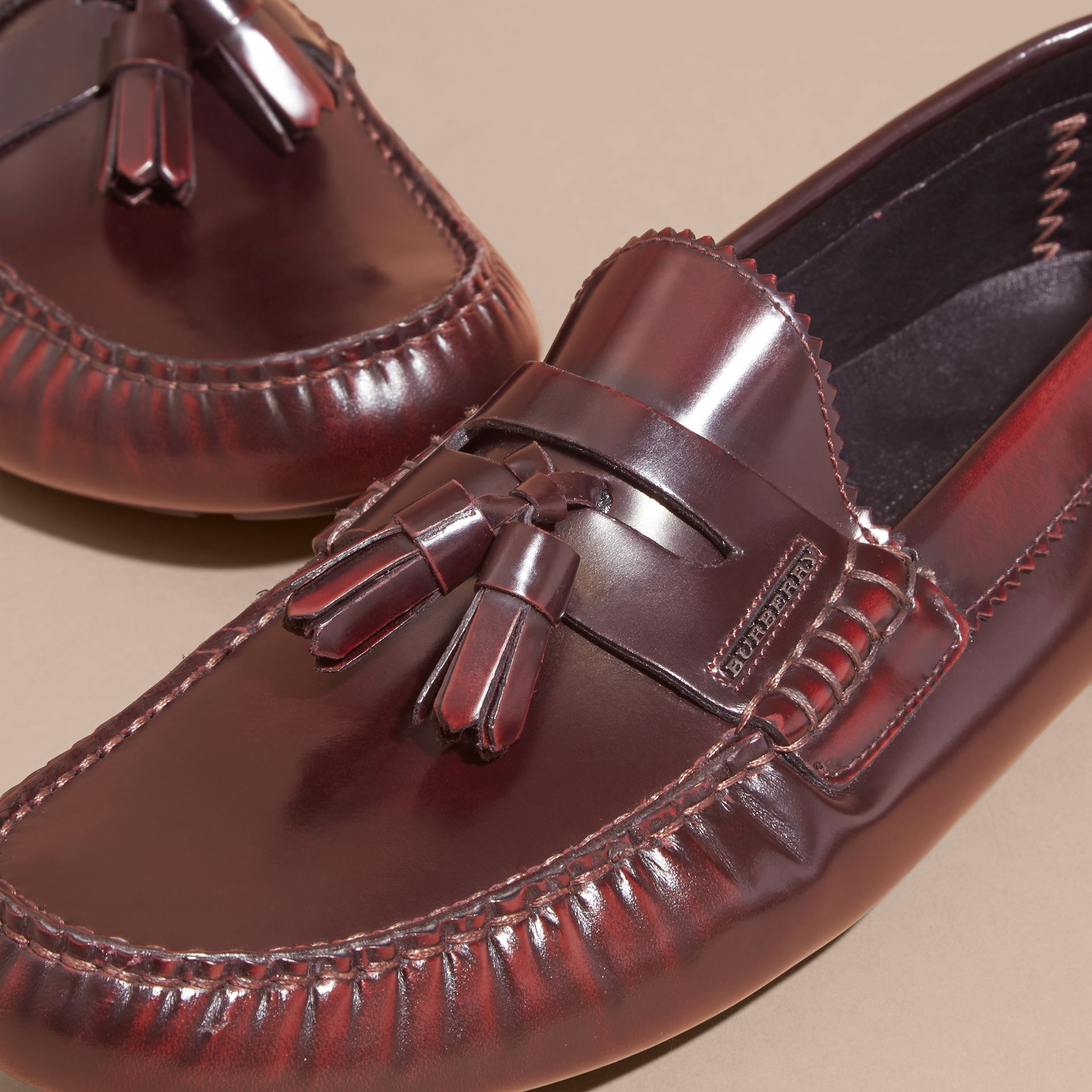 Tasselled Polished Leather Loafers Bordeaux - gallery image 2
