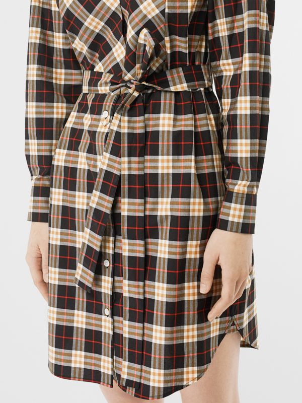 Check Cotton Tie-waist Shirt Dress in Midnight - Women | Burberry - cell image 3