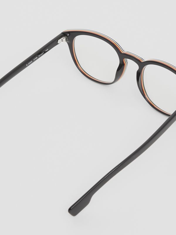 Icon Stripe Detail Round Optical Frames in Black - Men | Burberry - cell image 3