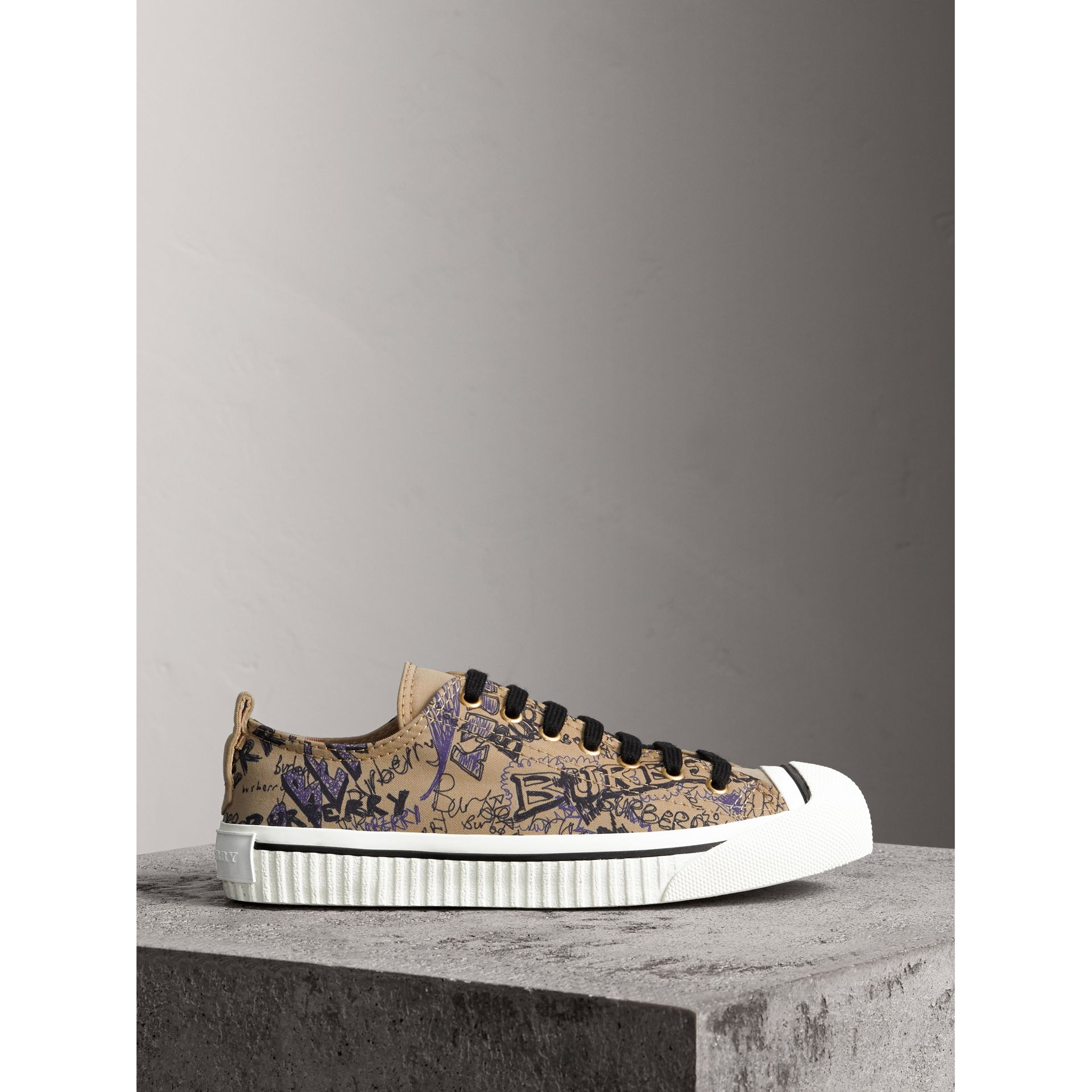 Doodle Print Cotton Gabardine Trainers in Honey - Women | Burberry - gallery image 5