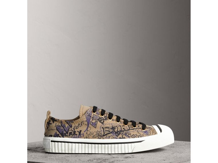 Doodle Print Cotton Gabardine Trainers in Honey - Women | Burberry - cell image 4