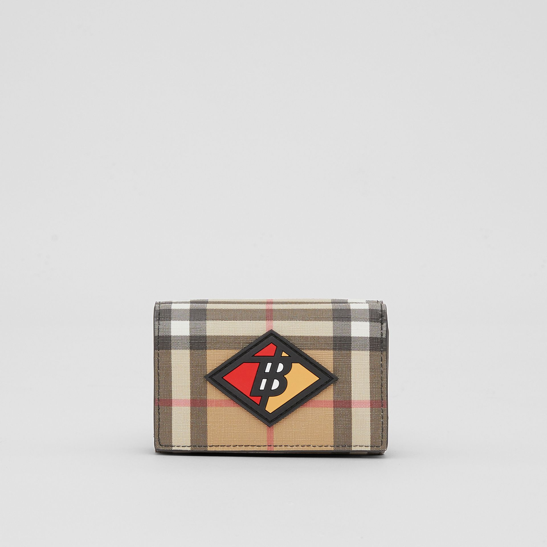 Small Logo Graphic Vintage Check Folding Wallet in Archive Beige - Women | Burberry Australia - gallery image 0