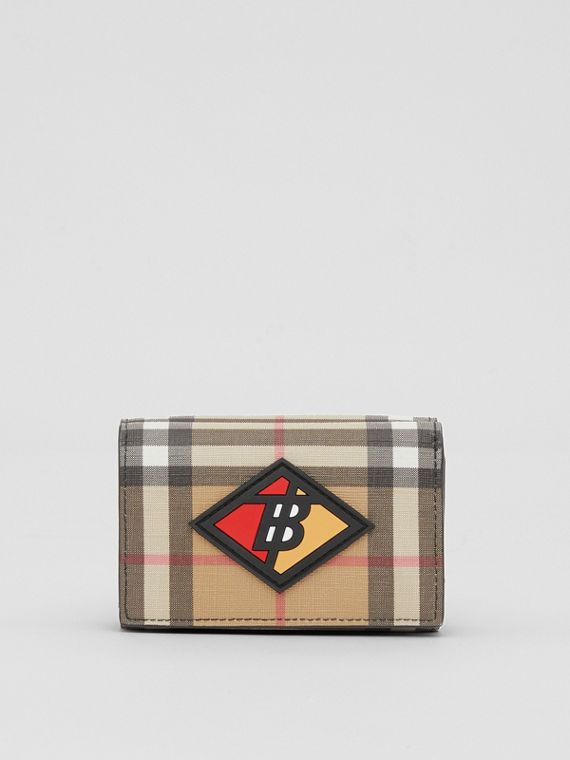 Small Logo Graphic Vintage Check Folding Wallet in Archive Beige