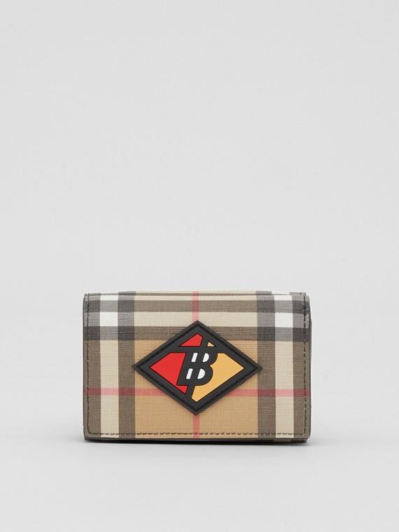 Petit portefeuille à rabat Vintage check avec logo (Beige D'archive)