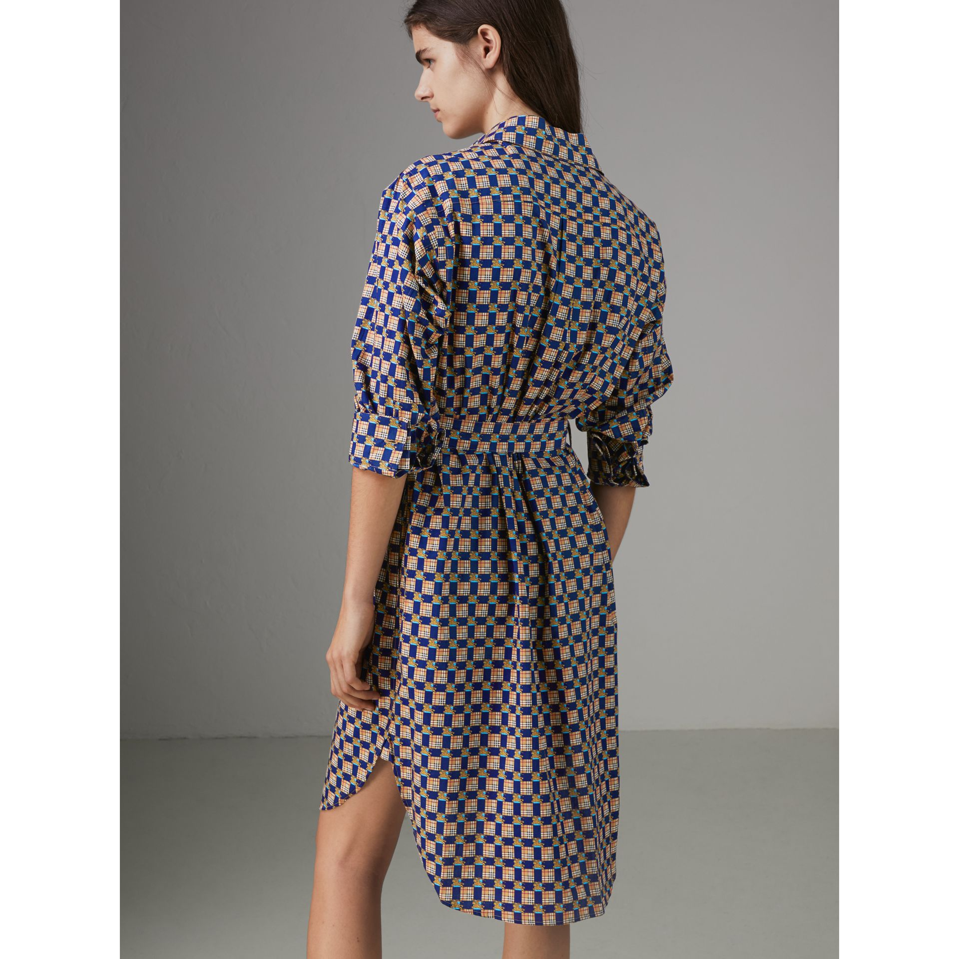 Tiled Archive Print Cotton Shirt Dress in Navy - Women | Burberry United Kingdom - gallery image 2