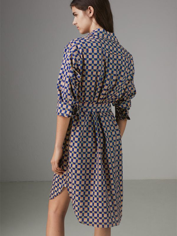 Tiled Archive Print Cotton Shirt Dress in Navy - Women | Burberry United Kingdom - cell image 2