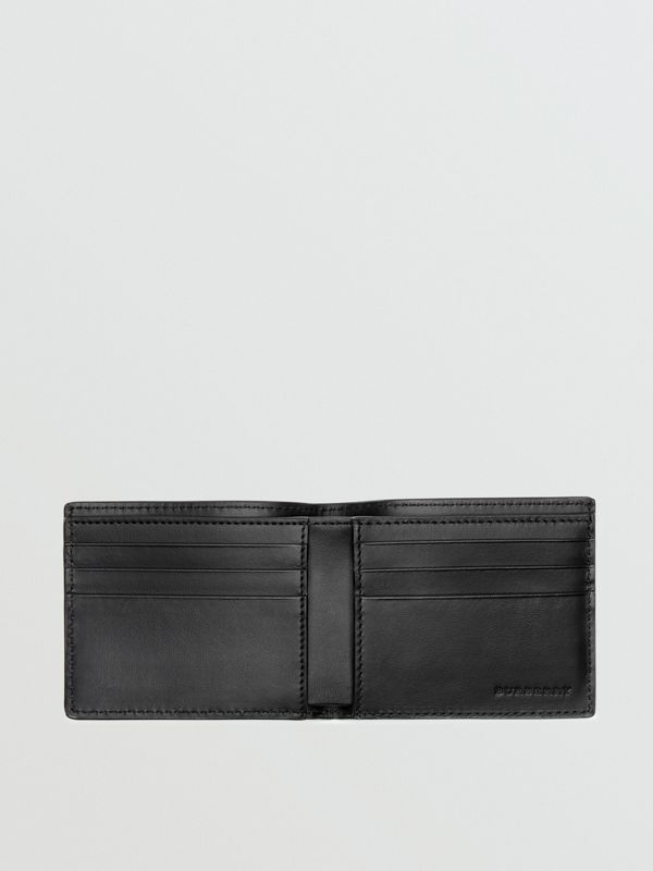 Perforated Logo Leather Bifold Wallet in Black - Men | Burberry - cell image 2