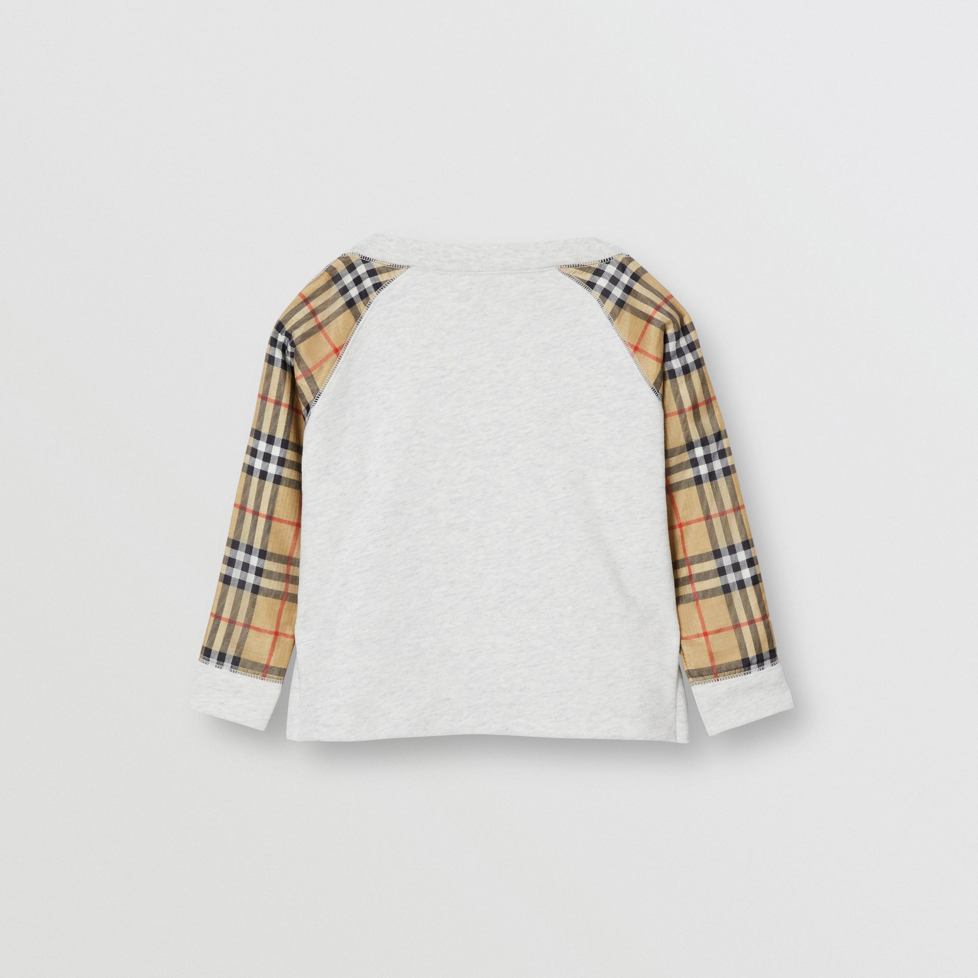 Vintage Check Detail Logo Print Cotton Sweatshirt in White Melange | Burberry Hong Kong S.A.R - gallery image 4