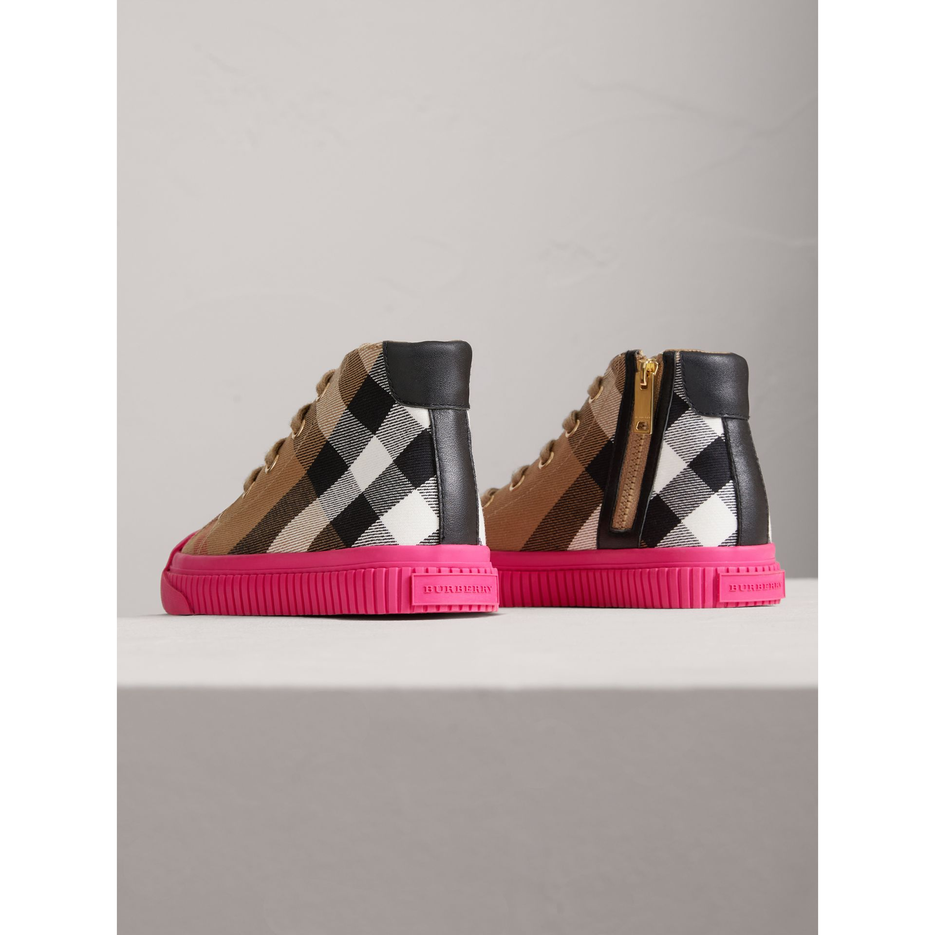 House Check and Leather High-top Sneakers in Classic/neon Pink | Burberry - gallery image 2