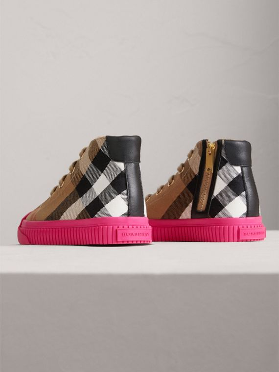 House Check and Leather High-top Sneakers in Classic/neon Pink | Burberry - cell image 2