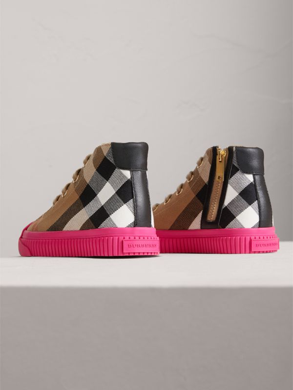 House Check and Leather High-top Sneakers in Classic/neon Pink - Children | Burberry - cell image 2