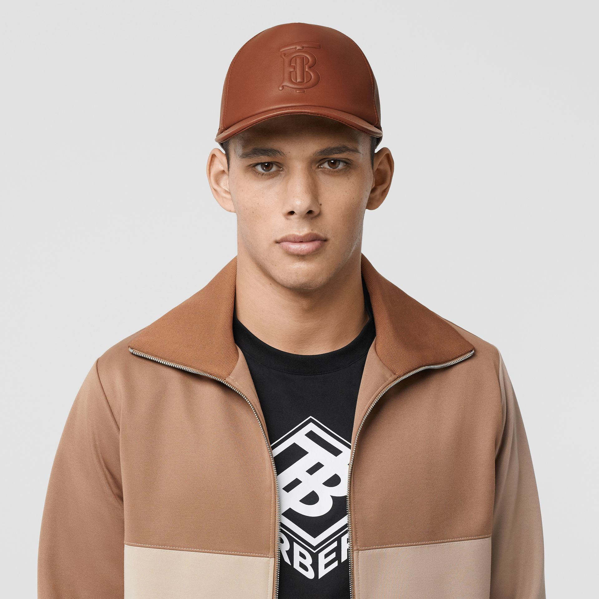 Monogram Motif Leather Baseball Cap in Tan | Burberry - gallery image 3