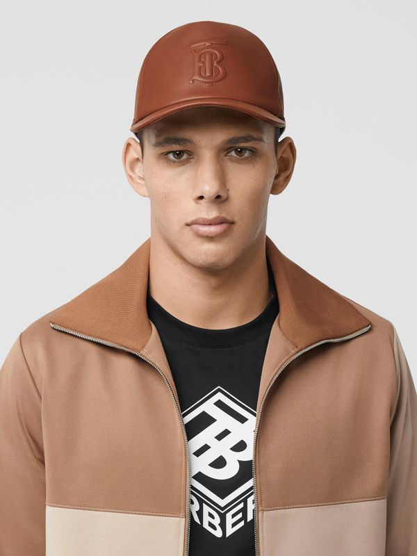 Monogram Motif Leather Baseball Cap in Tan | Burberry Singapore - cell image 3