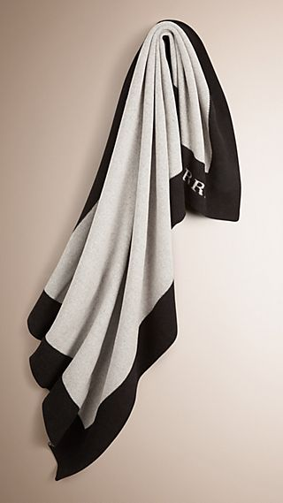 Contrast Border Wool Cashmere Blanket