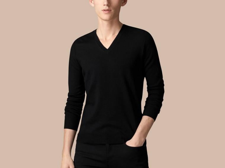 Черный Шерстяной свитер с отделкой в клетку Черный - cell image 2