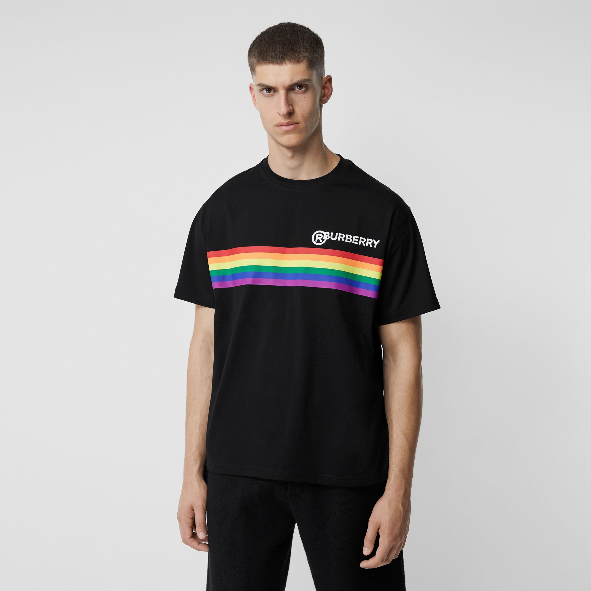 Rainbow Stripe Print Cotton Oversized T-shirt in Black - Men | Burberry - gallery image 4