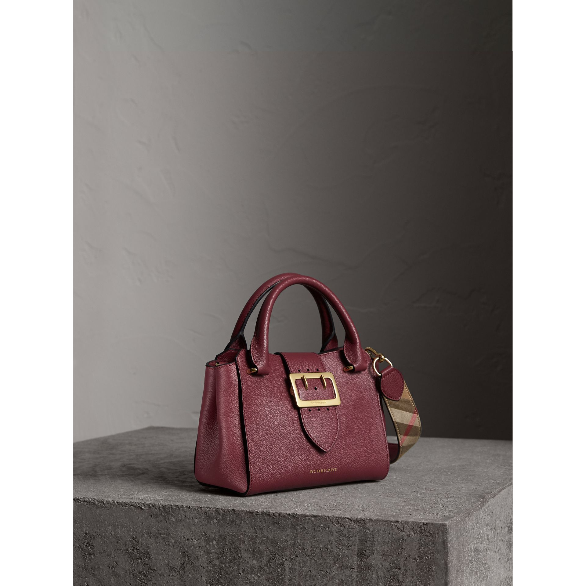 The Small Buckle Tote in Grainy Leather in Dark Plum - Women | Burberry - gallery image 7