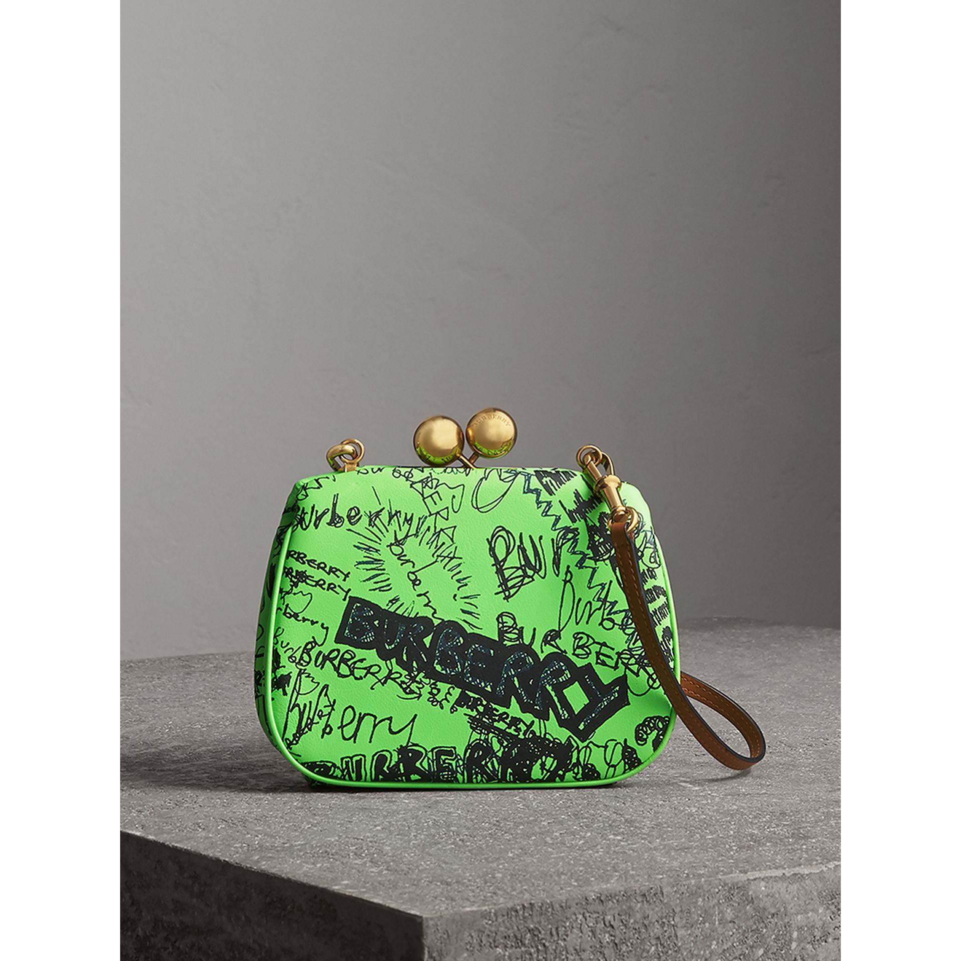 Small Doodle Print Leather Metal Frame Clutch Bag in Neon Green - Women | Burberry - gallery image 0