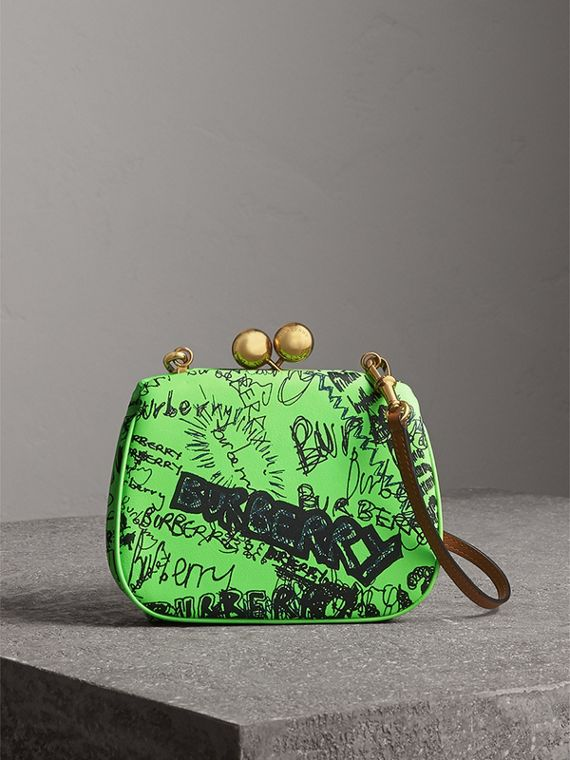 Small Doodle Print Leather Metal Frame Clutch Bag in Neon Green