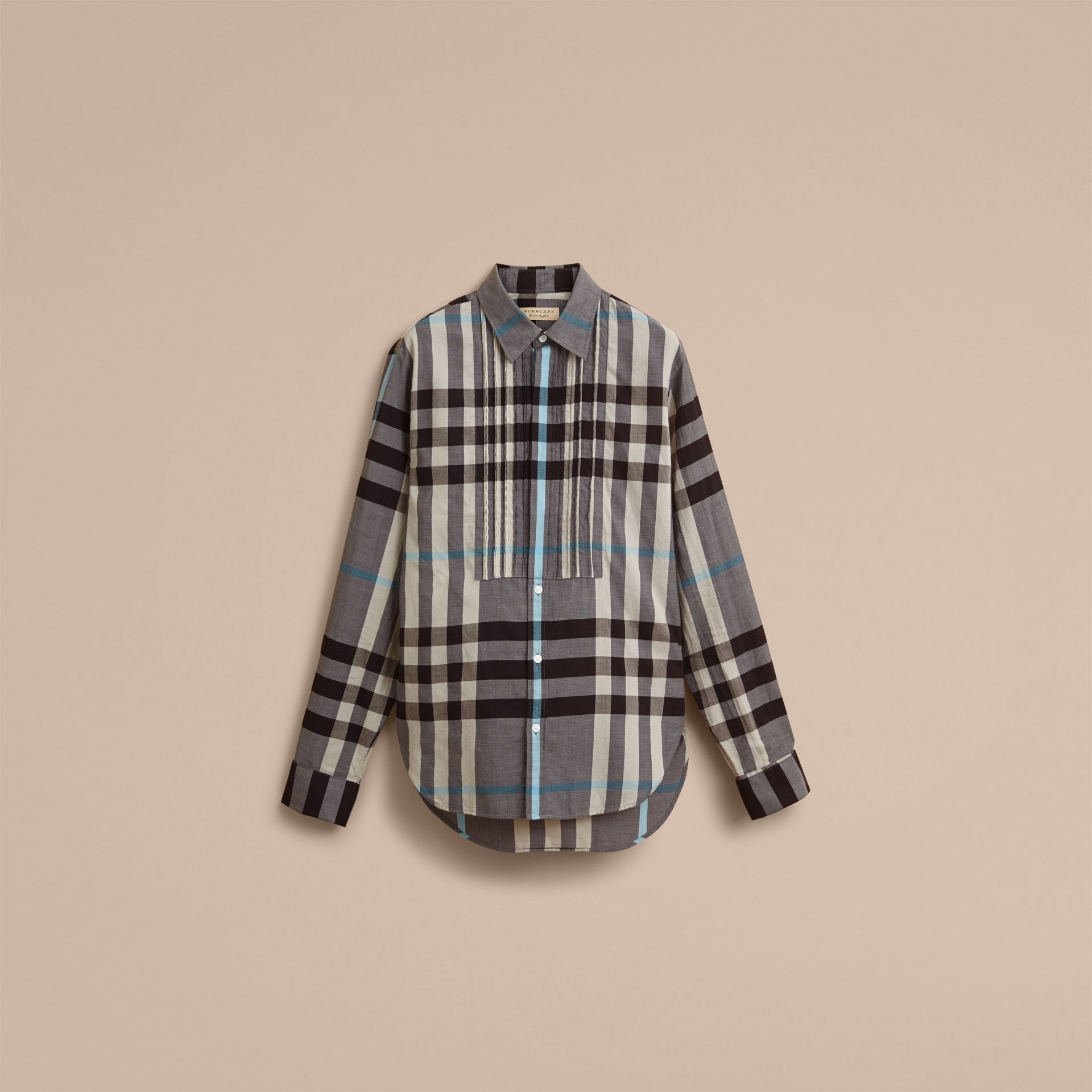 Double-cuff Pintuck Bib Check Cotton Shirt - Men | Burberry - gallery image 4