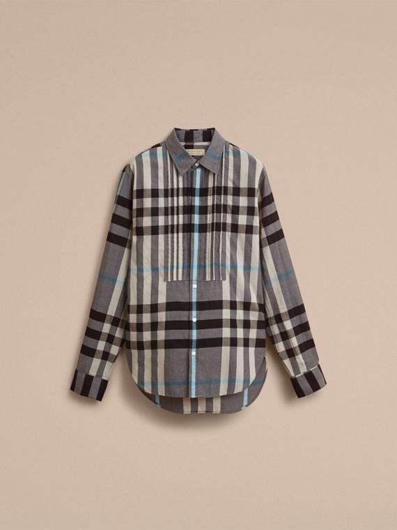 Double-cuff Pintuck Bib Check Cotton Shirt - Men | Burberry - cell image 3