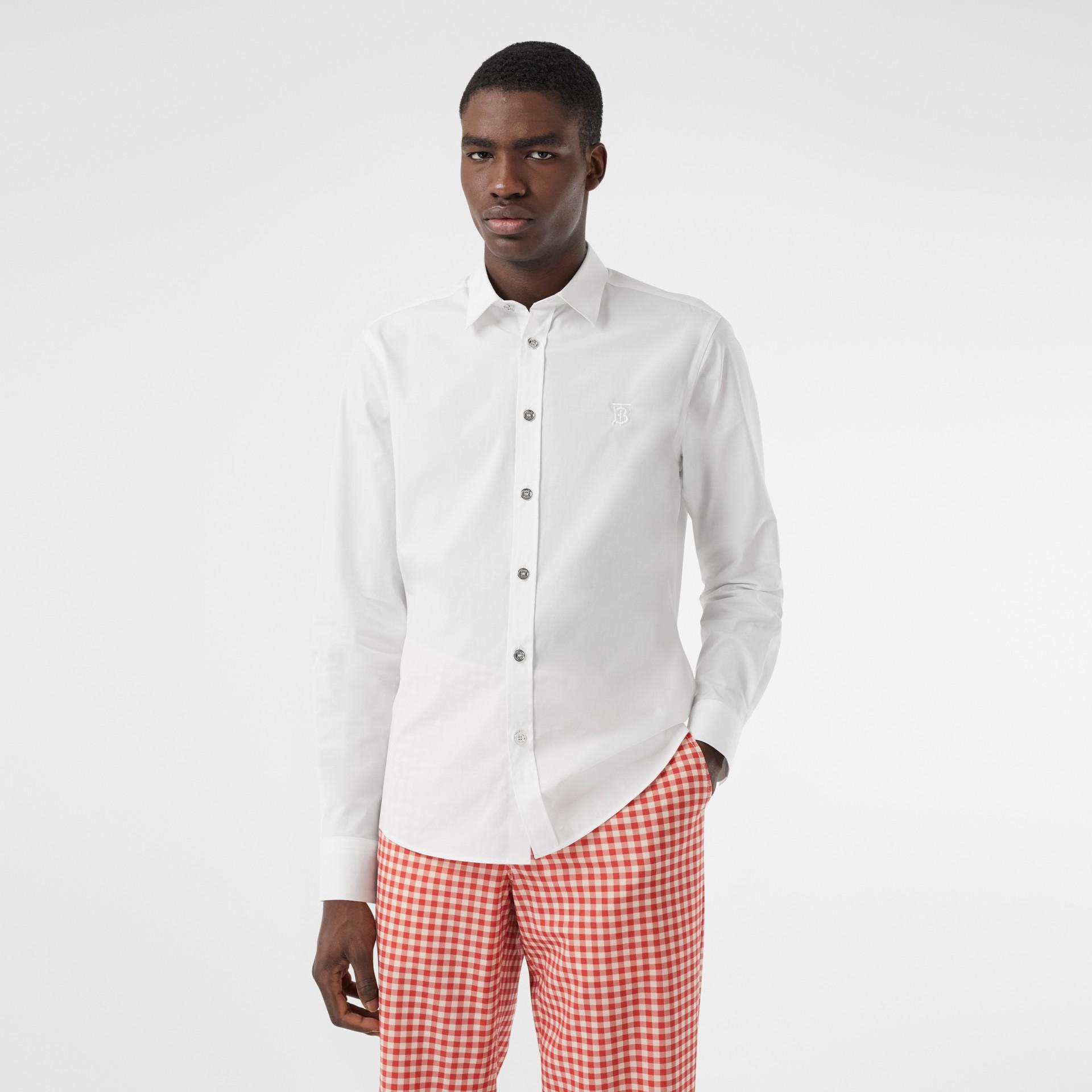 Monogram Motif Stretch Cotton Poplin Shirt in White - Men | Burberry - gallery image 0