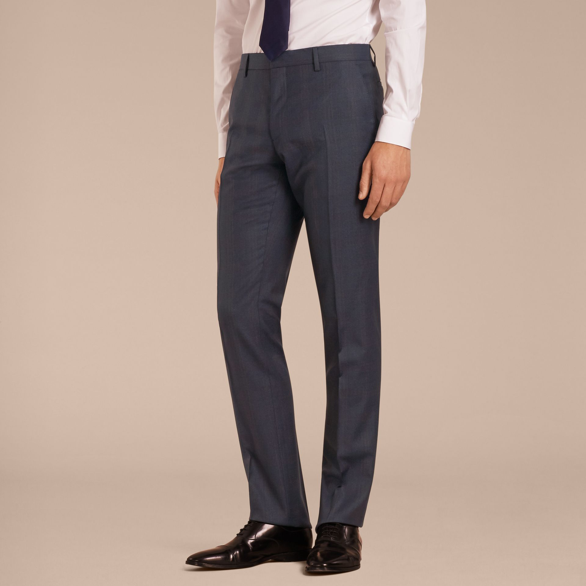 Navy Modern Fit Wool Half-canvas Suit - gallery image 9