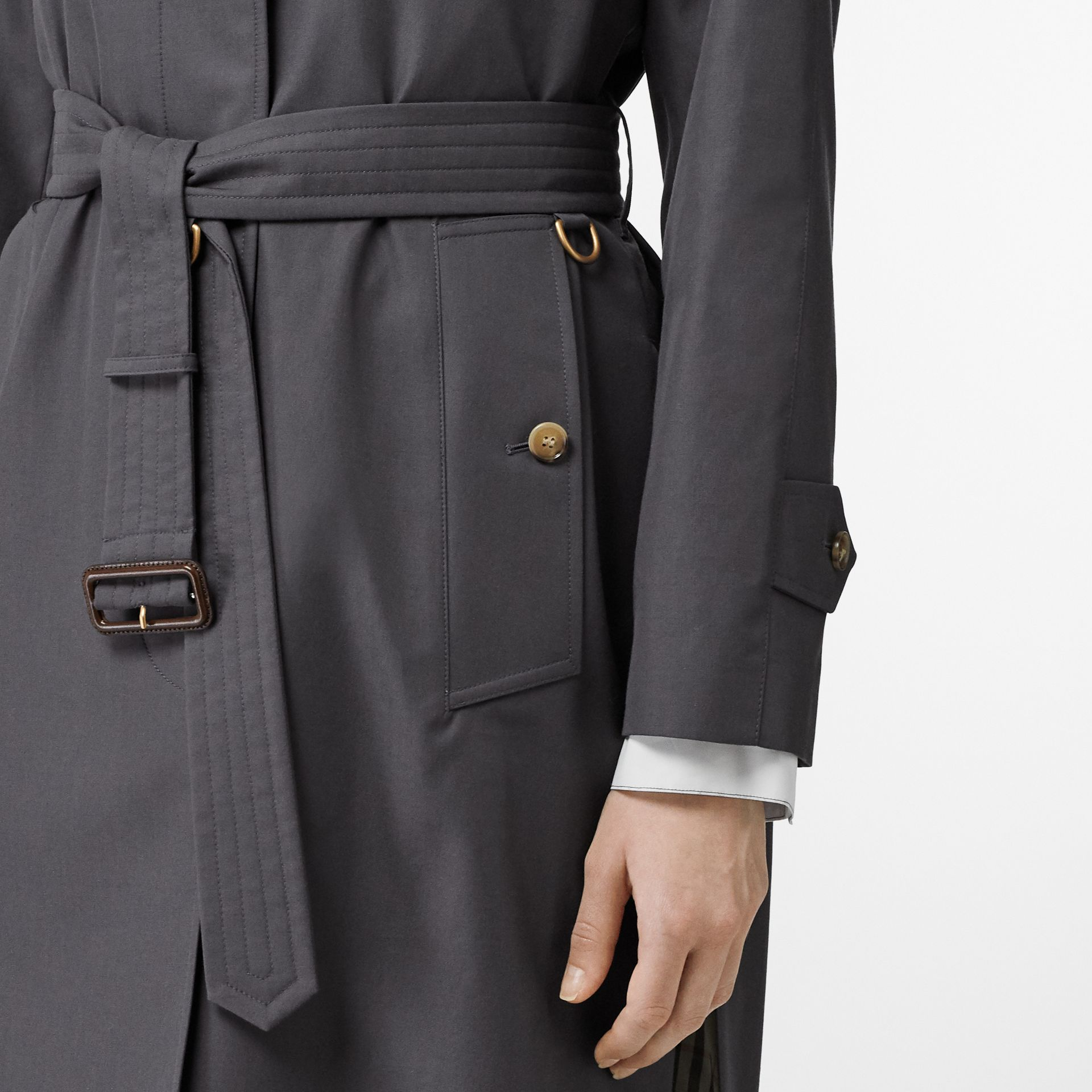 Cotton Gabardine Belted Car Coat in Mid Grey - Women | Burberry Singapore - gallery image 4