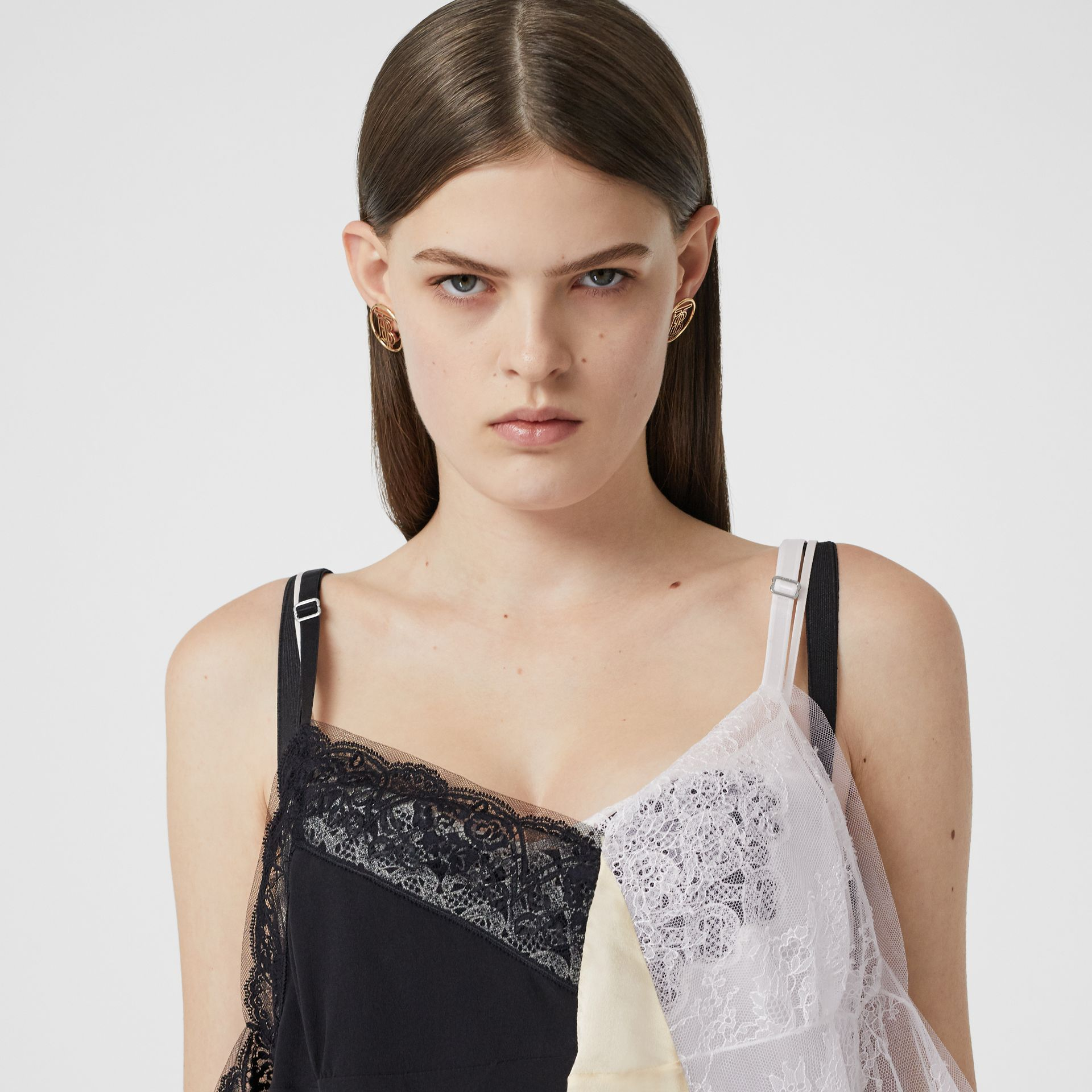 Lace Trim Silk Satin Reconstructed Camisole in Buttermilk - Women | Burberry - gallery image 1