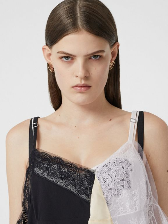 Lace Trim Silk Satin Reconstructed Camisole in Buttermilk - Women | Burberry - cell image 1