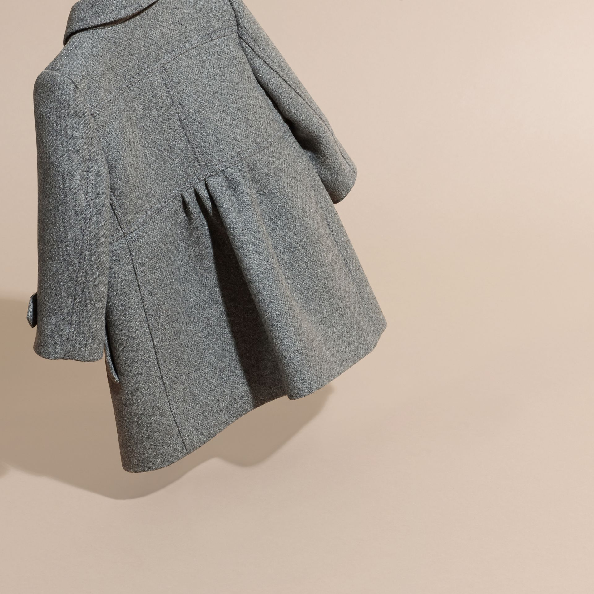 Steel grey melange Tailored Wool Cashmere Blend Coat Steel Grey Melange - gallery image 4