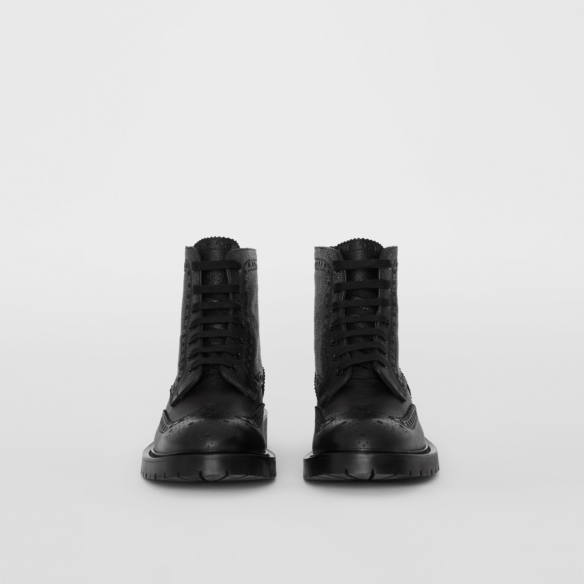 Brogue Detail Grainy Leather Boots in Black - Men | Burberry Singapore - gallery image 3