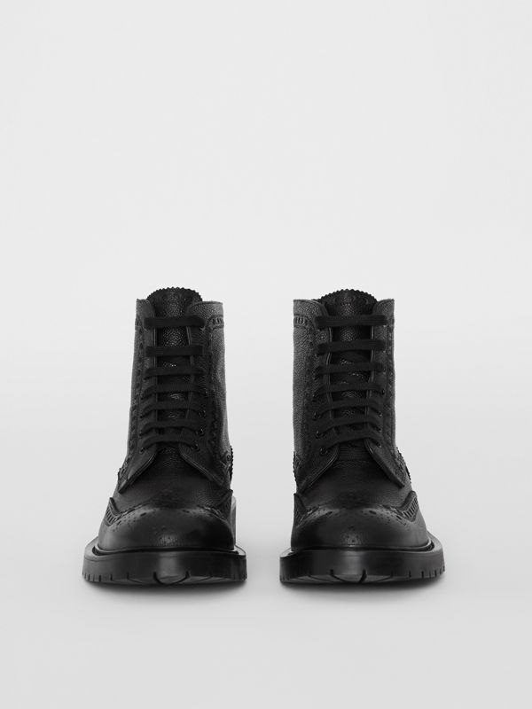 Brogue Detail Grainy Leather Boots in Black - Men | Burberry - cell image 3