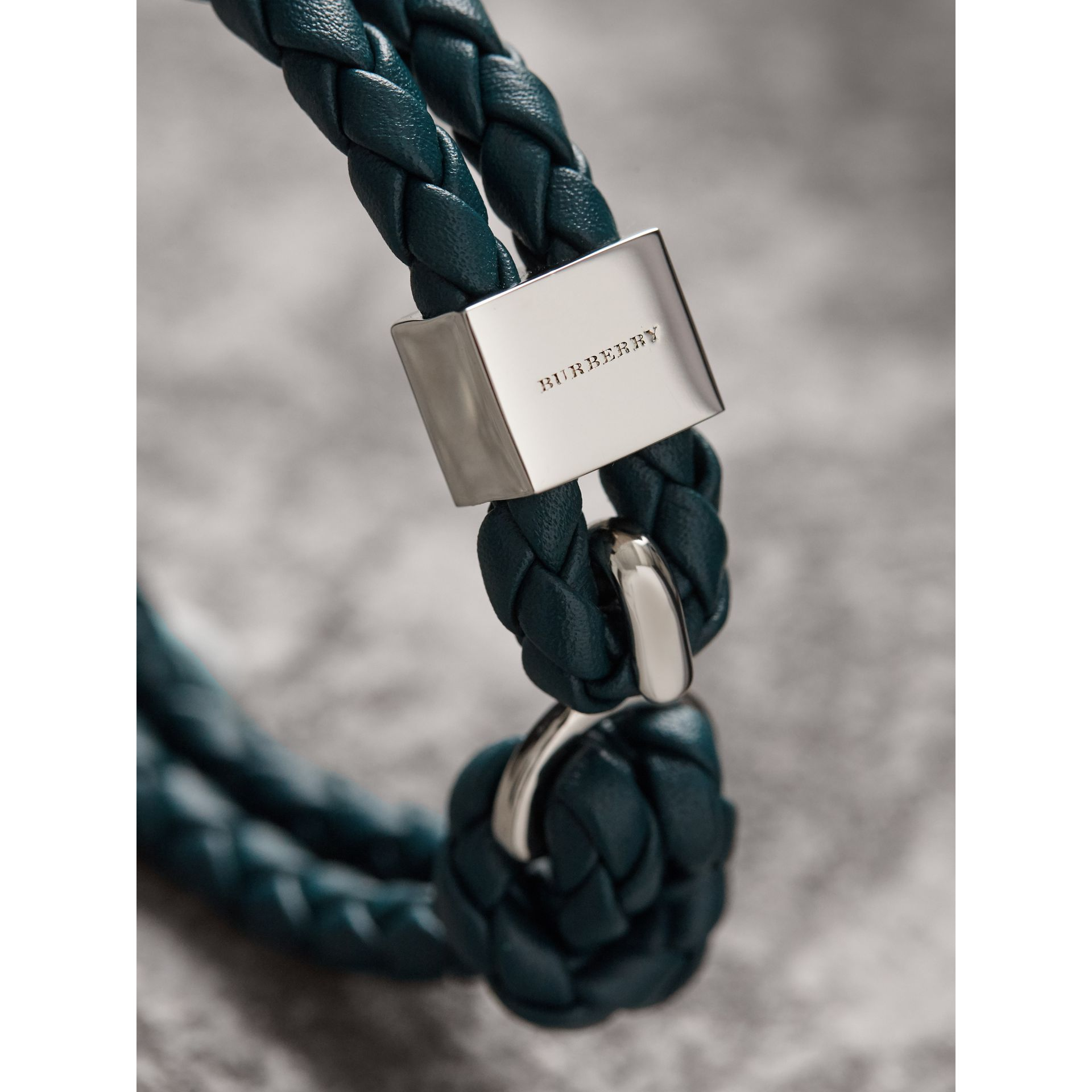 Braided Leather Bracelet in Dark Teal - Men | Burberry Singapore - gallery image 2