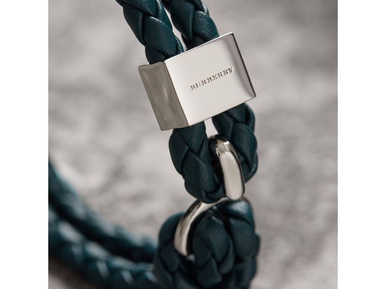 Braided Leather Bracelet in Dark Teal - Men | Burberry - cell image 1