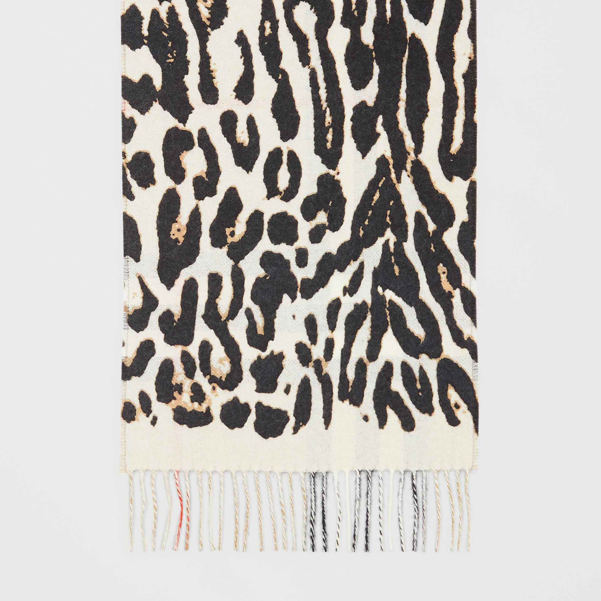 Leopard Print and Check Cashmere Scarf in Black | Burberry United Kingdom - gallery image 4