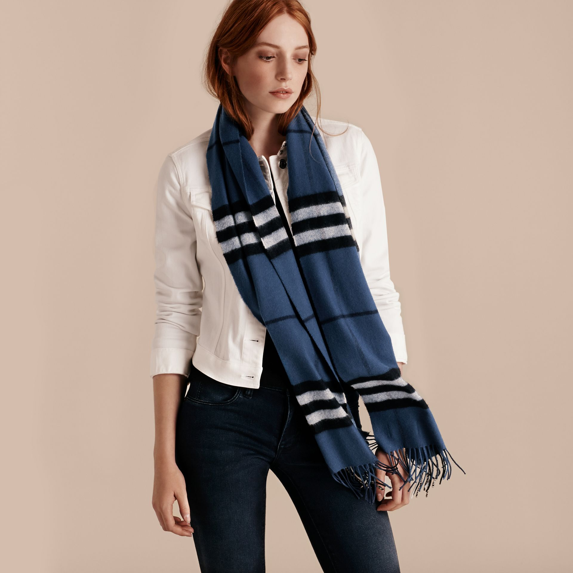 Cadet blue The Classic Cashmere Scarf in Check Cadet Blue - gallery image 3